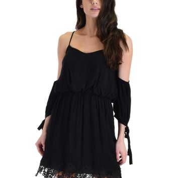 SL4136 Black 3/4 Sleeve Cold Shoulder Dress With Lace Hemline And Tie Sleeves