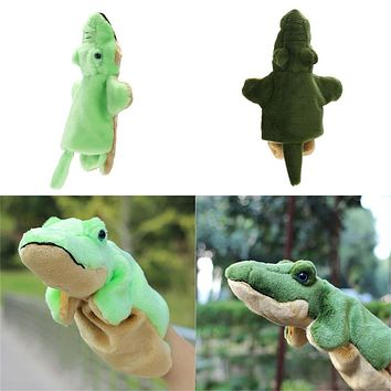 Plush Hand Puppets Teddy Bear Donkey Crocodile Dolphin Hand Doll Baby Early Educational Toys