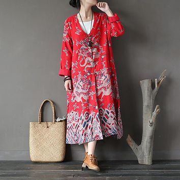V-neck Long sleeve Chinese style Women Trench Coat Autumn Vintage Fashion Print Long Coats Brand Design Novelty Coat Femme A142