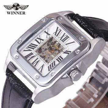 T-WINNER Men Classic Automatic Mechanical Wrist Watch Leather Band Roman Number Hollow Dial Square Case Unique Design + GIFT BOX