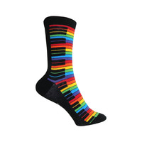 Piano Crew Socks in Rainbow and Black