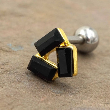 Gold Black Triangle Cartliage Earring Tragus Conch Helix Piercing