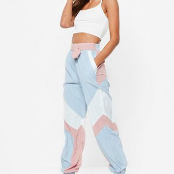 Missguided - Pink Shell Suit Belted Pants