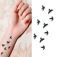2017 Fashion Wrist Flash Tattoo Fake Tattoo Birds Design Waterproof Temporary Tattoo Sticker For Body Art Women Flesh Tattoos