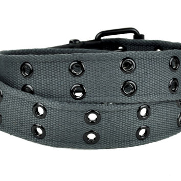 Dark Grey 2 Row Black Eyelet Fabric Belt