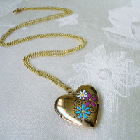 Antique Gold Heart Locket Necklace Hand Painted Flowers 24 Inch Vintage Gold Plated Curb Chain
