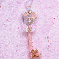 Pastel Magical Girl Star Key Staff Necklace
