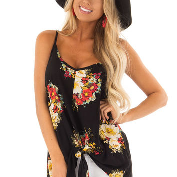 Sable and Floral Print Sleeveless Top with Knot Tie Detail