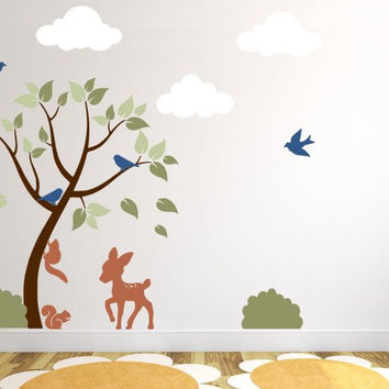 Nursery Tree Wall Decal With Clouds, Deer, Bushes, Birds, and Squirrels