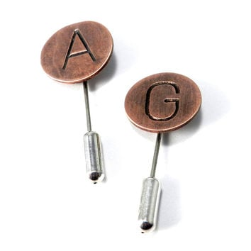Hand-Stamped Custom Initial Hat Pin in Copper