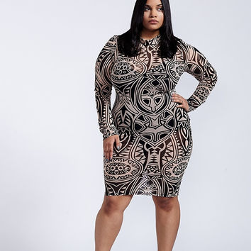 Hedonism Bodycon Dress Plus Size - Black And Taupe