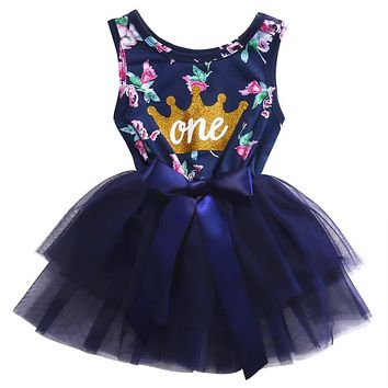 0-2T Kid Girls Princess Baby Dress Newborn Infant Baby Girl Clothes Purple Floral Crown Print Tutu Ball Gown Party Dresses