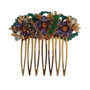 Dolce & Gabbana Gold Crystal Floral Fly Hair Comb