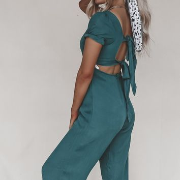 Botanic Cropped Emerald Green Jumpsuit