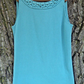 Teal Knit Top / Turquoise Blouse / Crochet Top / WomansTop / Layering Top / Womans Blouse /Tank Top / Boho Top / Scoop neck / Sleeveless