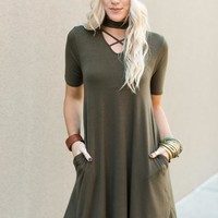 Cross Front Choker Dress