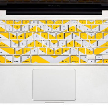 "Yellow Chevron Stripe Keyboard Cover Decal Skin for Apple Macbook Macbook Pro iMac Keyboard  13"" 15"" 17"""