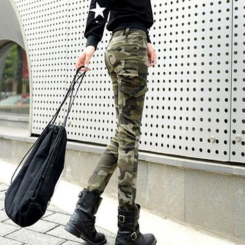 25-34 Plus Size Women Skinny Camouflage Pants Spring SummerTrousers Camo Military Cargo Pants Pantalons Pour Femme