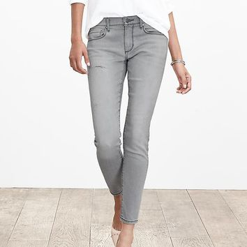 Banana Republic Womens Distressed Gray Skinny Ankle Jean