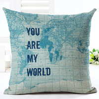 MYJ European World Map Printed Linen Cotton Square 45x45cm Home Decor Houseware Throw Pillow Cushion Cojines print your name