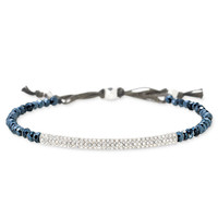 Silver & Navy Glass Beaded Adjustable Bracelet | Liberty Bracelet | Stella & Dot
