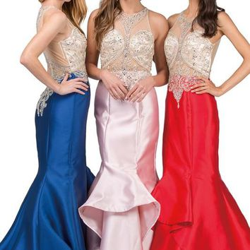 Backless mermaid prom dress  DQ9930