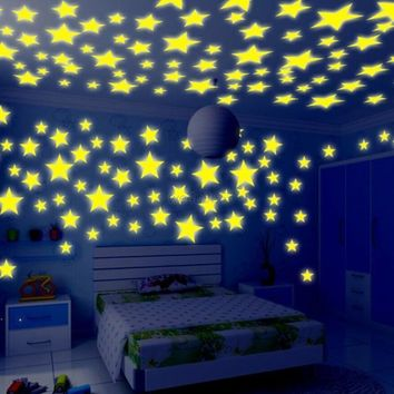 100Pcs 3D Stars Luminous Fluorescent Wall Stickers Glow In The Dark Home Decor
