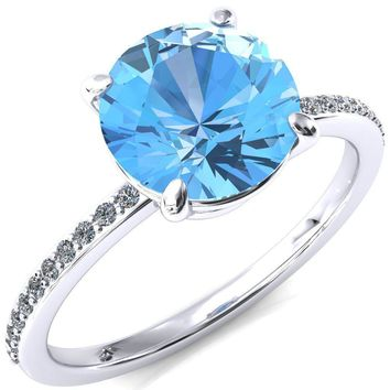Flora Round Aqua Blue Spinel 4 Prong 1/2 Bead Eternity Diamond Accent Engagement Ring