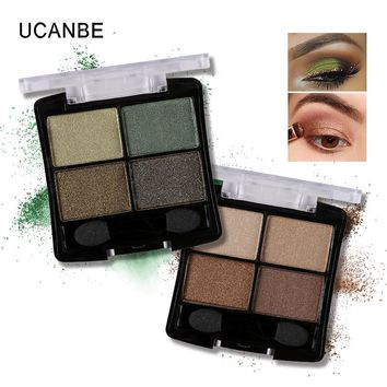 4 colors Glitter Eyeshadow Nake Palette Natural Cosmetic Makeup Smokey With Brush Set