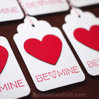 Red Paper Heart Valentine's Day Gift Tags Hang Tags Set of 6 3x5 Large