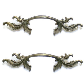2 Large French Provincial Drawer Handles, Brass Drawer Pulls, Brass Handles, Cottage Chic Handles, Large Brass Dresser Drawer Handles