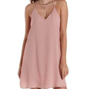 Dusty Rose T-Back Chiffon Sheath Dress by Charlotte Russe