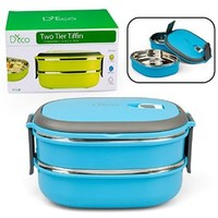 Stacking Lunch Box - Oval Two Tier Tiffin with Vacuum Seal Lid and Stainless Steel Interior (Blue)