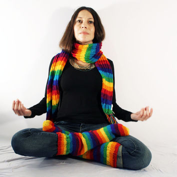 Rainbow Hand Knit woolen Socks and Scarf winter set warm hippie