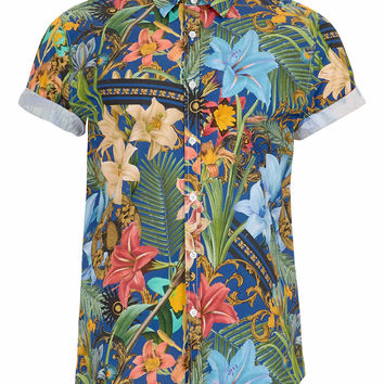 Blue Tropical Print Short Sleeve shirt - Men's Shirts - Clothing - TOPMAN USA