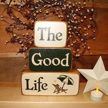 Country Blocks   The Good Life by RUSTICNORTHERN on Etsy