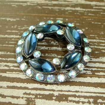 Vintage Blue AB Rhinestone Brooch, Aurora Borealis Crystal Pin, Silver Tone Round Circle or Wreath, Estate Jewelry, Costume Jewelry