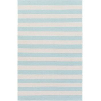 Port Cotton Stripe Aqua Rug