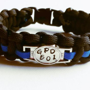 Custom Thin Blue Line Paracord Bracelet - Thin Blue Line Bracelet - Emergency Survival Bracelet - Police Support Bracelet - 550 Paracord