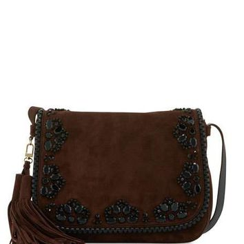 kate spade new york anderson way lietta suede crossbody bag, barrel brown