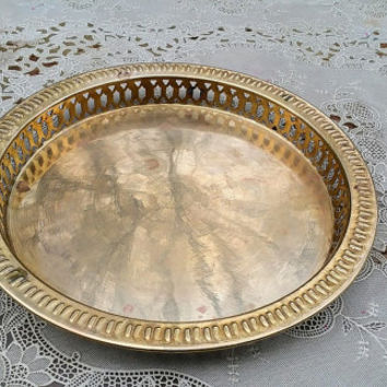 Vintage Round Brass Tray Serrated Edge Hollywood Regency Tray