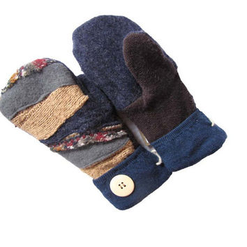 Sweaty Mitts - DESIGNER Upcycled Wool Sweater Mittens Women's Recycled Handmade Wisconsin - Patchwork Gray Navy Brown Hippie Boho Chic