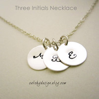 Silver Three Initials necklace,Personalized necklace,Monogram necklace-Bridesmaid gift-silver necklace-3 discs necklace,best friend gift