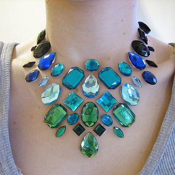 Green Blue and Black Floating Rhinestone Necklace, Floating Rhinestone Statement Necklace, Colorful Illusion Necklace
