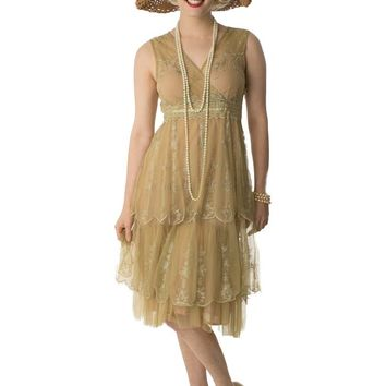 1920s Style Sage Green Tiered Tulle Empire Dress