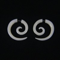Small Spiral Cheater Plugs Ear Gauges, Fake Gauge Bone Earrings FGB0014