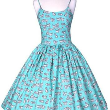 Chelsea Turquoise Kittens Dress (Just a few left!)