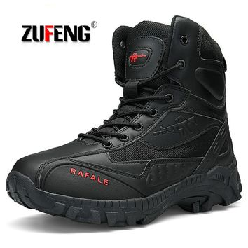 Outdoor Men Hiking Shoes Waterproof Special Forces Camping Shoes Men's Desert Military Tactical Boots Breathable Trekking Shoes