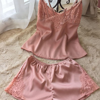 sexy ladies silk deep v sleeveless nightie suspender pajamas sets pijamas free shipping 2016 spring & summer style with lace hot