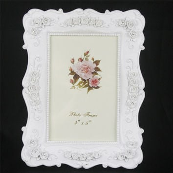 Retro Vintage White Rose Flower Crystal Home Decor Photo Frame Picture Frame Resin 4''*6''